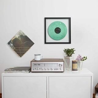 "Umbra 310420-040 Record 16-1/2"" Square Polystyrene Wall Mounted Album - Walnut"