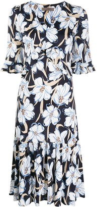 D-Exterior Ruffled Floral Dress