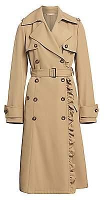 Michael Kors Women's Ruffle Belted Wool Trench Coat