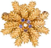 14K Diamond & Sapphire Snowflake Brooch