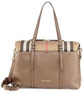 Burberry Mason Check-Canvas & Leather Diaper Tote Bag