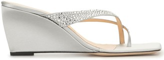 BY FAR Crystal-Embellished Wedge Sandals