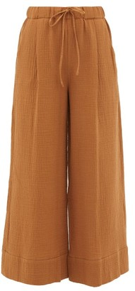 Loup Charmant Olympia Seersucker Palazzo Trousers - Light Brown