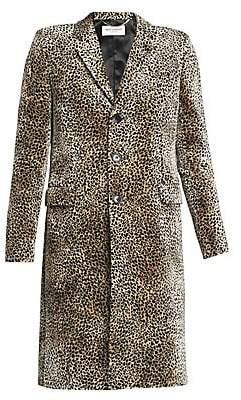 Saint Laurent Women's Leopard-Print Single-Breasted Coat