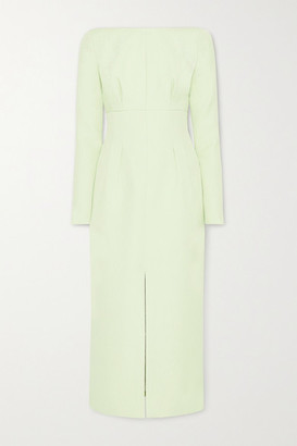 Emilia Wickstead Asher Gathered Cloque Midi Dress - Light green