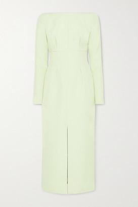 Emilia Wickstead Asher Gathered Cloque Midi Dress - Light green