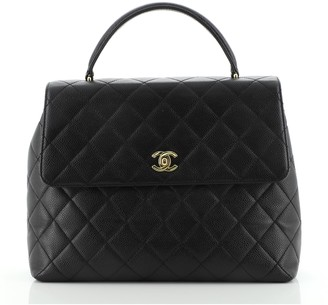 Chanel Classic Top Handle Flap Bag Quilted Caviar Jumbo