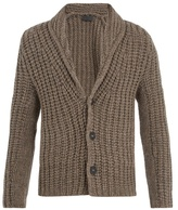 Iris von Arnim Shawl-collar chunky ribbed-knit cashmere cardigan