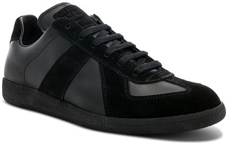 Maison Margiela Soft Leather & Velour Replica Sneakers in Black | FWRD
