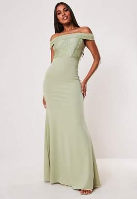 Missguided Bridesmaid Green Lace Bardot Fishtail Maxi Dress