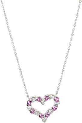Tiffany & Co. Diamond and Pink Sapphire Heart Platinum Pendant Necklace