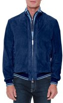 Stefano Ricci Perforated Suede Zip-Up Jacket, Blue
