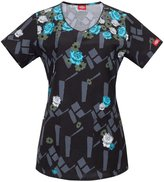 Dickies Women's Jr. Fit V-Neck Scrubs Print Top