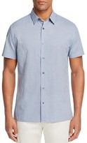 Vince Micro Check Camp Short Sleeve Slim Fit Button-Down Shirt