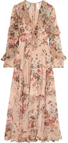 Zimmermann Aerial Ruffled Floral-print Silk-georgette Dress - Blush