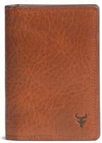 Trask Men's 'Jackson' Gusset Pocket Bison Leather Card Case - Brown