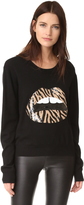 Markus Lupfer Zebra Sequin Lip Sweater