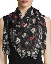 Alexander McQueen Skulls & Kisses Silk Scarf, Black/Ivory