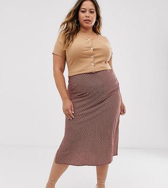 AX Paris Plus dogtooth midi skirt