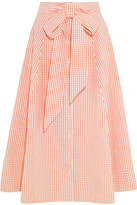 Lisa Marie Fernandez Pleated Gingham Cotton Midi Skirt - Peach