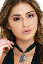 LuLu*s Lady Mystic Black and Silver Choker Necklace