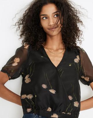 Madewell Silk Organza Puff-Sleeve Wrap Top in Aster Portrait
