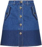 Valentino Button-down denim mini skirt