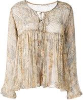Mes Demoiselles palms print ruffled blouse - women - Lurex/Viscose - 40