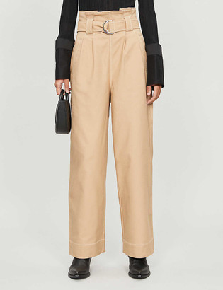 Ganni High-rise cotton-blend chino trousers