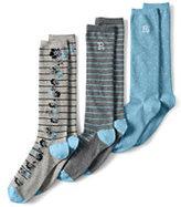 Lands' End Women's Seamless Pattern Trouser Socks (3-pack)-Heather Gray