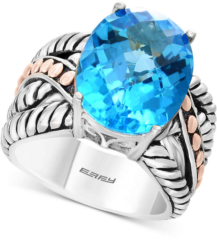 Effy Balissima by Blue Topaz Statement Ring (10-5/8 ct. t.w.) in Sterling Silver & 18k Rose Gold