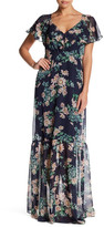 Betsey Johnson Chiffon Flutter Sleeve Maxi Dress