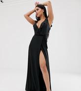 Asos DESIGN Petite ruffle wrap maxi dress with tie detail