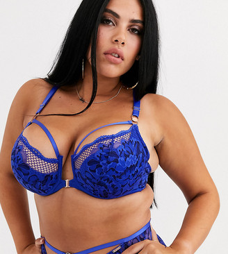 Figleaves Curve Amore lace and fishnet front fastening bra in blue