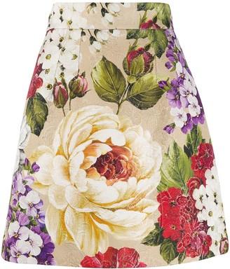 Dolce & Gabbana Baroque Rose jacquard skirt