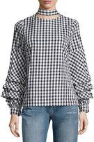 Brandon Thomas Check-Print Ruffle-Sleeve Blouse