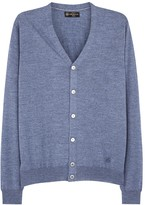 Corneliani Light Blue Fine-knit Wool Cardigan