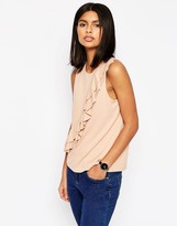Asos Ponte Shell Top With Double Ruffle Detail