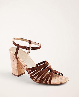 Ann Taylor Johanna Suede Block Heel Sandals