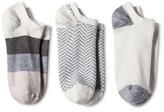 Merona Women's Low-Cut Socks 3-Pack Ivory Wide Stripe One Size