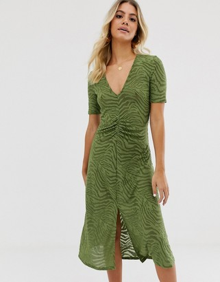 Asos Design DESIGN burnout zebra midi dress with ruched waist-Green