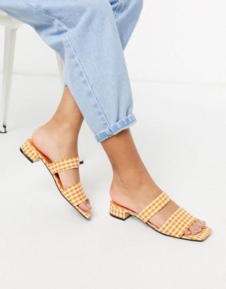 Monki Julie ginham double strap low heel in orange check