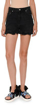 MSGM Denim Ruffle Shorts, Black