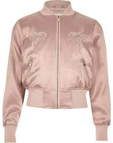River Island Girls pink satin embroidered bomber jacket