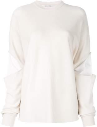 Tibi double layer slit sleeve sweater