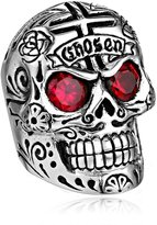 King Baby Studio Men's Large Skull Ring with Chosen Cross Detail and Garnet Eyes, Size 10