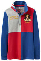 Joules Little Joule Boys' Junior Try Harlequin Rugby Top, Blue/Red