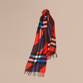 Burberry Check Cashmere Scarf with Stripe Print
