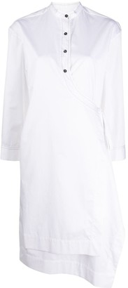 Eudon Choi Wrap-Front Band-Collar Shirt Dress