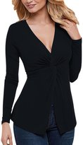 uxcell® Women Deep V Neck Long Sleeves Knot Bust Slim Fit Tunic Top L